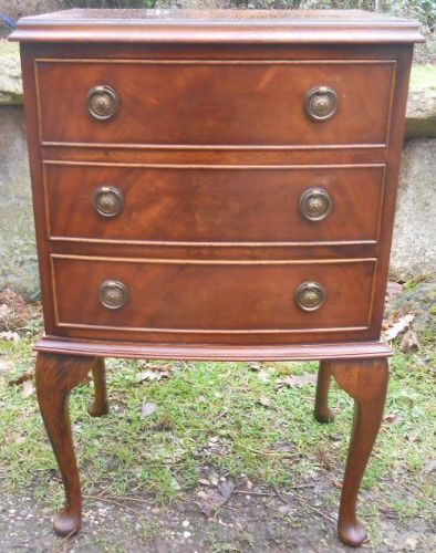 Small Mahogany Bowfront Chest of Drawers by Reprodux